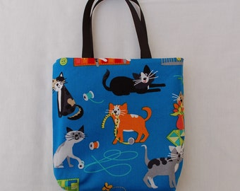 Fabric Gift Bag/ Party Favor Bag/ Goody Bag- Cat Mischief in the Sewing Room