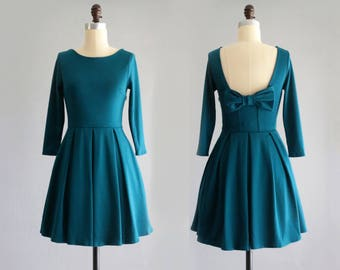 January Teal Bridesmaid Dress With Bow Vintage Inspired