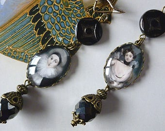 "Victorian ""ballerina"", illustrated portraits Cabochons, Czech glass, bronze metal filigree clip earrings"