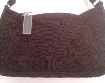 Vintage 1940's Dark Brown Corde Cord Design Purse Handbag Lucite Zipper Pull WWII Era Joan Crawford