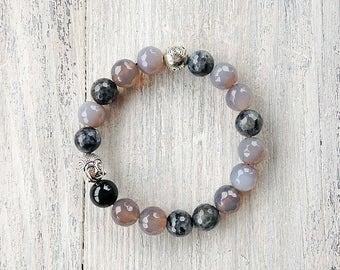 Gray gemstone bracelet / Multicolor stretch bracelet / Agate bracelet / Labradorite bracelet