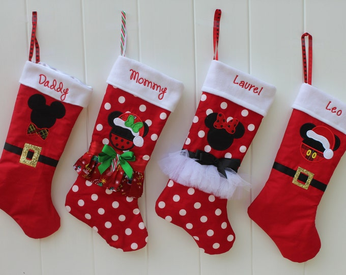 Christmas stockings, Family set of Disney stockings,Mickey Mouse stocking, Minnie Mouse stocking,Daddy Mickey Mouse stocking,Mommy Minnie