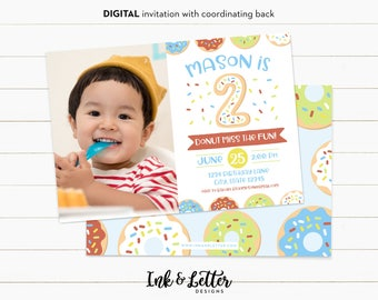 Photo Birthday Invitations - Donut Party Invitations - Doughnut Birthday Party - Donut Birthday - Boy Birthday Invites - Second Birthday