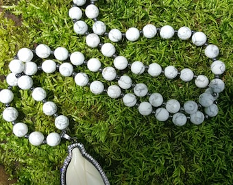 White Faceted Howlite Beaded Necklace Gunmetal Carved Bone Leaf Pendant Mala Bead Gift Long Gemstone Necklace