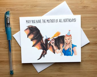 Game of Thrones Birthday Card, Daenerys Targaryen, Game of Thrones Dragons, Jon Snow, GOT Art, House Stark, Game of Thrones Gift, Happy Bday