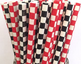 2.85 US Shipping -Black and Red Paper Straws - Checkered Paper Straws - Race Car Straws - Cake Pop Sticks - Drinking Straws