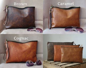 Leather zipper clutch, leather clutch bag, brown leather clutch, 3 colors