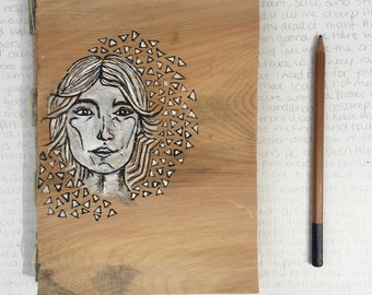 Handmade Notebook - Wooden pine cover - Portrait of a girl with triangles - Pen and ink illustration - Handmade paper journal