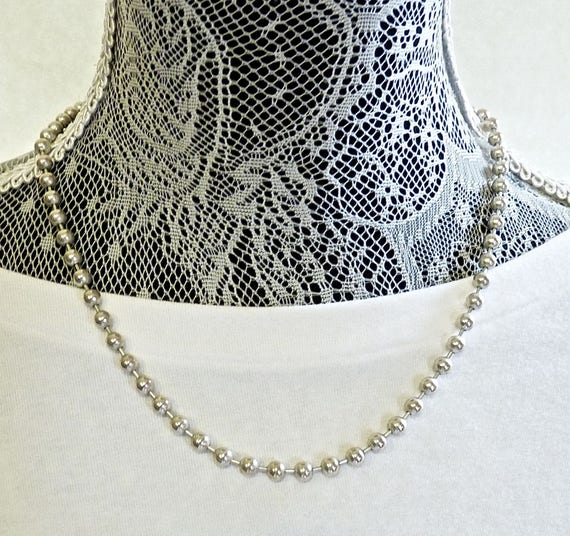 STERLING SILVER BEAD Necklace ~ 3mm Beaded Sterling Silver Necklace ~ 19 Inches Long with Snap Clasp