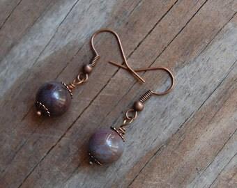 Antiqued Copper with Ocean Jasper Minimalist Dangle Earrings
