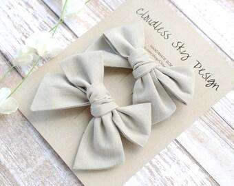 pigtail bows, tan bows, bow, pigtail set, taupe pigtail bows, pigtail bow sets, bow clips, bows for girls, baby bows, bows