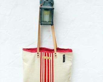 Grain Sack Shoulder Bag / Red stripes / Antique european linen / Beach tote bag / Market handbag / Hemp handwoven fabric