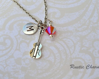 Personalized Birthstone Crystal and hand staped initial charm Violin, viol Musical Instrument neckalce