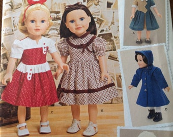 KeepersDollyDuds designs, Simplicity doll clothes pattern, coat and bonnet pattern, jacket and hat pattern, vintage style dresses