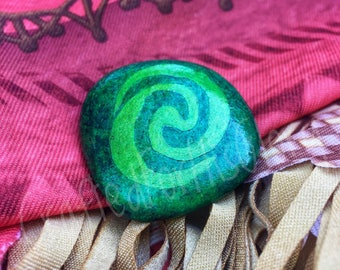 Moana Party Favors Heart of Te Fiti Hand Painted Stone - 1 Stone