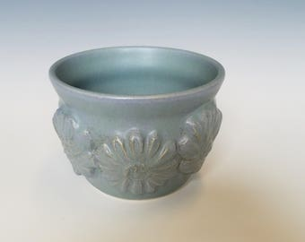Matte Aqua Wheel-Thrown Stoneware Pottery Ceramic Flower Pot
