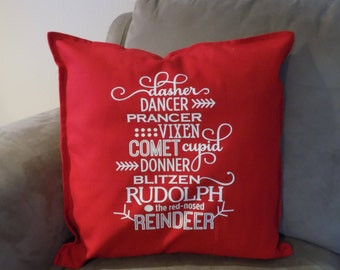 Reindeer Pillow Cover, Reindeer Decor, Holiday Decor Pillow, Holiday Throw Pillow, Christmas Pillow,  20x20 Red Pillow Cover