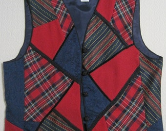 VEST, Talbots, Crazy Quilt, Red/Blue/Multi Plaids, Polyester/Wool/Rayon/Acetate, Fully Lined, Size not labeled See Measurements Below