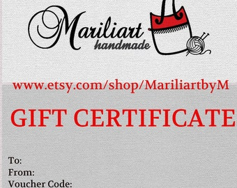 E gift certificate, Digital gift card, Last minute gift, Email gift card, Christmas gift, Gift voucher, Accessory gift card