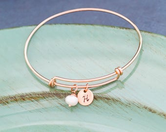 Rose Gold Bangle Initial Handstamped Rose Gold Initial • Gift Bridesmaid Bangle Wedding Jewelry • Custom Initial Bracelet Bridal