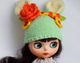 Blythe hat Blythe Doll Hat Blythe Bunny Cap Blythe Outfit Blythe Doll Clothes Blythe hare Hat Blythe rabbit hat Blythe Bunny hat Blythe