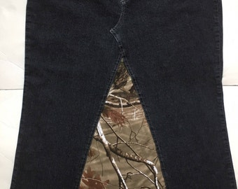 Camouflage Maxi Jeans Skirt