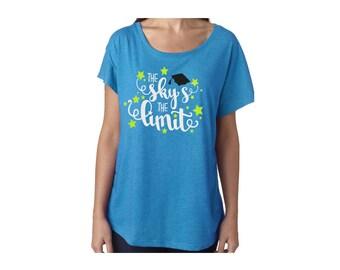 The Sky's the Limit Glitter Back to School Dolman Shirt | Teacher Shirt|Counselor Shirt