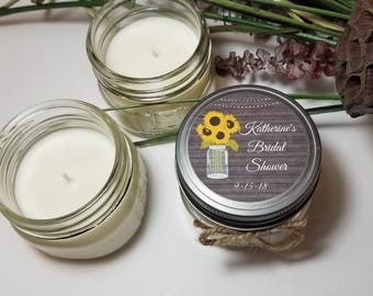 12 - 4 oz Bridal Shower Favors - Personalized Bridal Shower Candles - Wedding Candle Favors - Soy Candle Favors - Mason Jar Candles