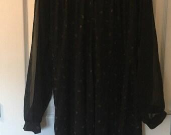 Mothers Day Gift Black Gold leaf print chiffon dress