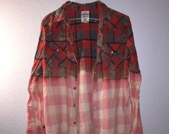 Red Grunge Faded Fringe Dip Dyed Bleached Flannel