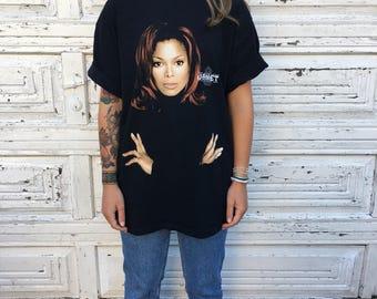 Vintage 90s 1998 Janet Jackson The Velvet Rope World Tour Black Oversized Graphic Tee Shirt  - XL