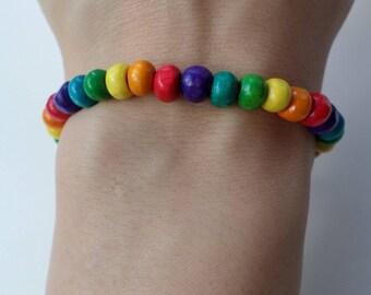 Wood beads Bracelet - rainbow colours