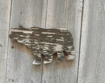 Grizzly bear shelf art - Reclaimed barn wood - Mantle piece - Gallery Wall - Nursery - Desk art