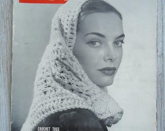 1945 Vintage Life magazine - Vintage Crochet - Vintage advertising - Crochet gift - Fashion Magazine - Gifts for her, Old ads, Crochet togs
