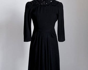 1940s black sequin rayon dress