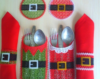 FSL Christmas Table Setting Santa and Elf Free Standing Lace Machine Embroidery Designs 6x10hoop-1 size/Coaster/Cutlery Holder/Napkin Rings