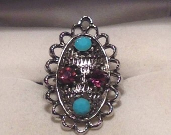 Vintage Silver Tone Stone Ring