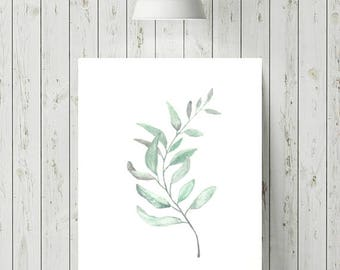 Botanical Prints, Leaf Printable, Scandinavian Print, Minimalist Botanical Print, Fern Watercolour Print, Botanical Watercolour Paintings