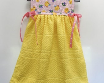 Yellow Easter Chicks on Pink Hanging Kitchen Hand Towel Quilted Cotton Pot Holder Coordinating Ribbon Ties onto any kitchen appliance handle