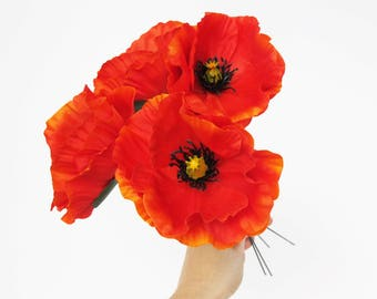 "Poppies 10 Orange Poppy Artificial Flowers Silk Poppy 4.3"" Flower Wedding Anemones Supplies Faux Fake Anemone"