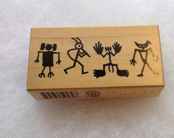 Vintage Wood Backed Rubber Stamps, Abstract Figures