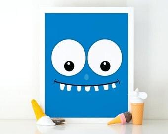 Blue Monster, Little Monster, Kids Wall Art, Monsters Print, Cute monster, Instant Download, Nursery Decor, printable art, monster Poster