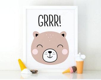 Grrr Bear, Sleepy bear, Nursery Wall art, Cute bear, wal art Print, nursery decor, kids room print, kids Printable art, Nursery printable