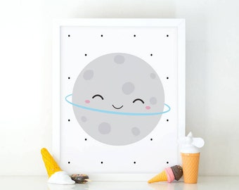 Cute Moon, moon print, outer space nursery, Nursery printable, Kids room decor, Nursery decor, cute wall art, planet print, printable planet