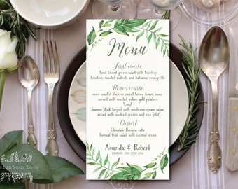 leafy wedding menu printable wedding menu green wedding greenery botanical leafy wreath watercolor green leaves wedding decor diy invitation