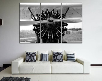 Aircraft Engine Vintage Aircraft Canvas Art Vintage Airplane Wall Art Military Canvas Air Force Wall Art Aircraft print Propeller Aircraft