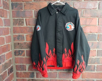 Vintage Fire Racing Jacket 90s Flame Embroidered Racing Coat Matco Tools Jacket