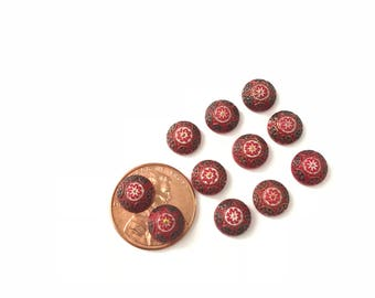 16 Vintage Middle Eastern Mosaic Red Glass Pattern Cabochon 8mm