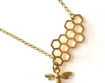 Honeycomb necklace honeycomb with Golden brass gold brass honey bee necklace honey bee pendant