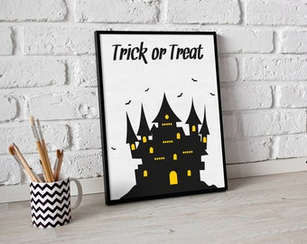 Halloween Printable - Trick or treat  - A4 Art Print - Instant Download - Wall Art - Digital Poster - halloween - Printable Decorations